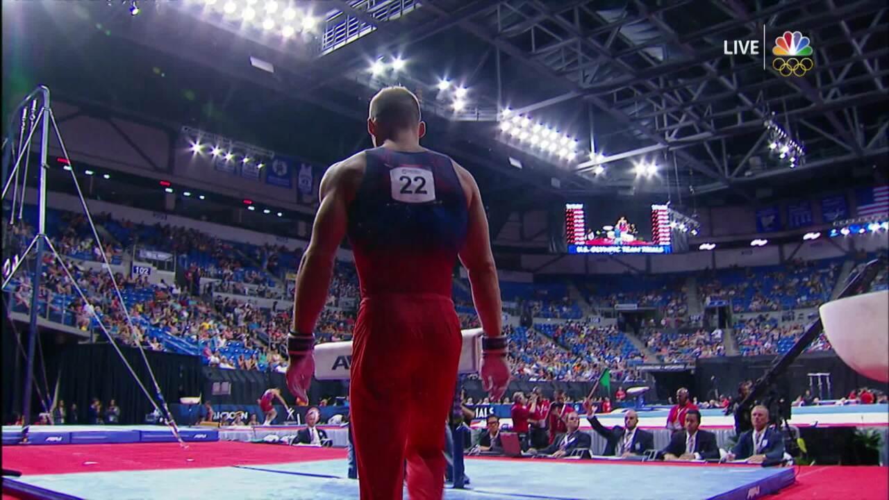 Men's Gymnastics Olympic Trials   Sam Mikulak Earns 15.425 On Pommel Horse