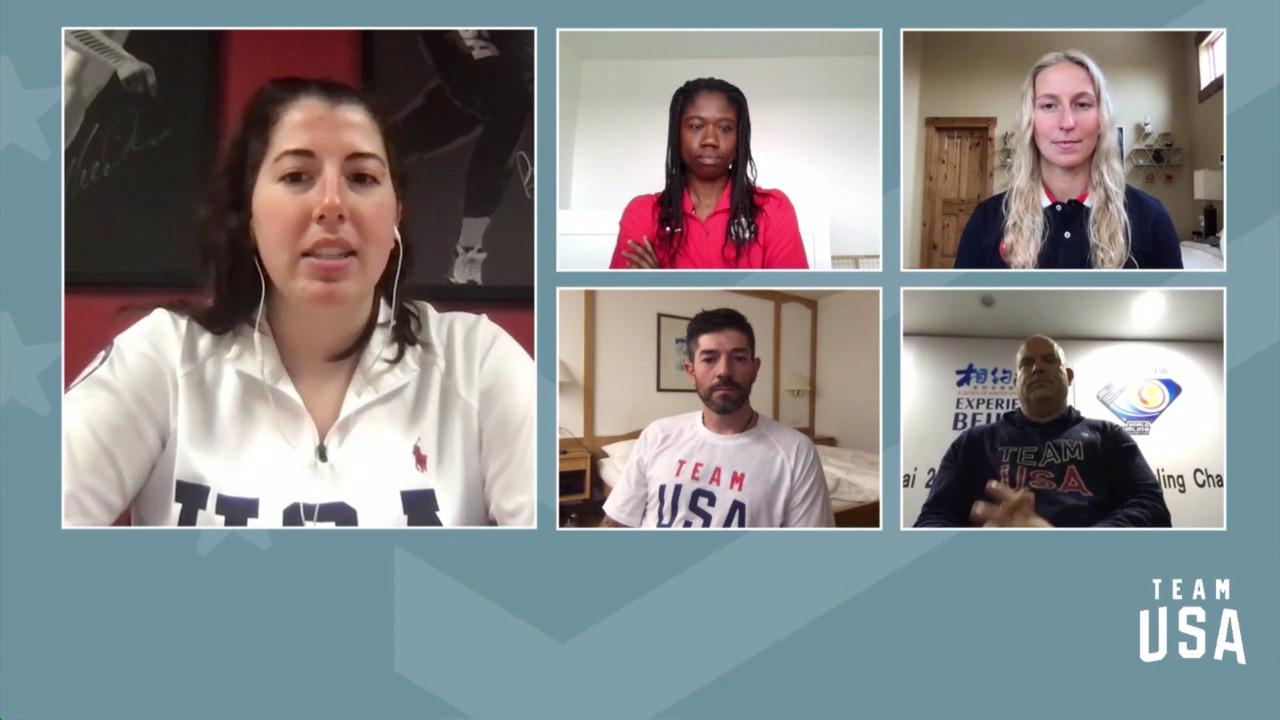 Keith Gabel, Erin Jackson, Winter Vinecki, Steve Emt | Beijing 2022 Team USA Media Summit