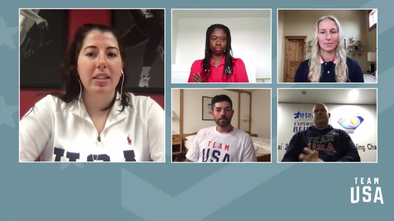 Keith Gabel, Erin Jackson, Winter Vinecki, Steve Emt   Beijing 2022 Team USA Media Summit