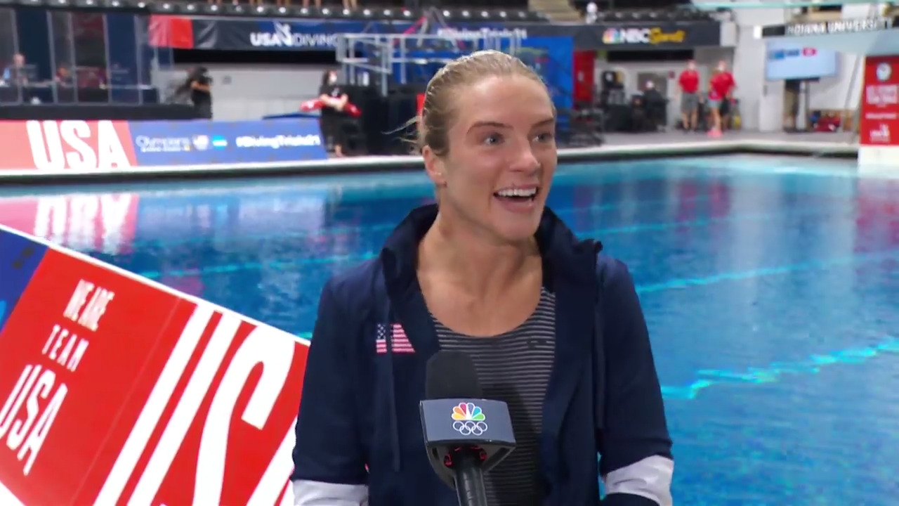 Katrina Young Women's 10-Meter Platform Final Dive And Interview   Diving U.S. Olympic Team Trials