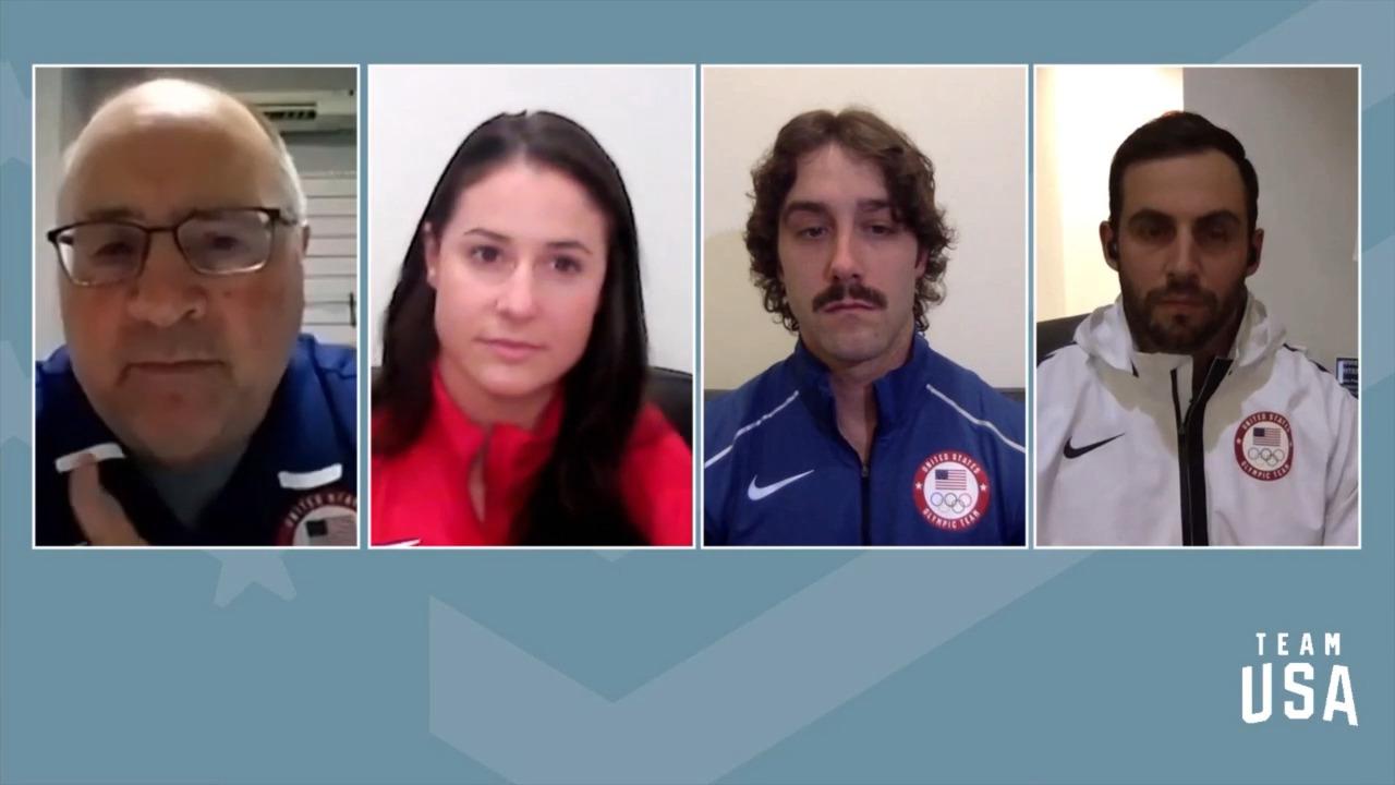 Chris Mazdzer, Emily Sweeney, Jayson Terdiman   Beijing 2022 Team USA Media Summit