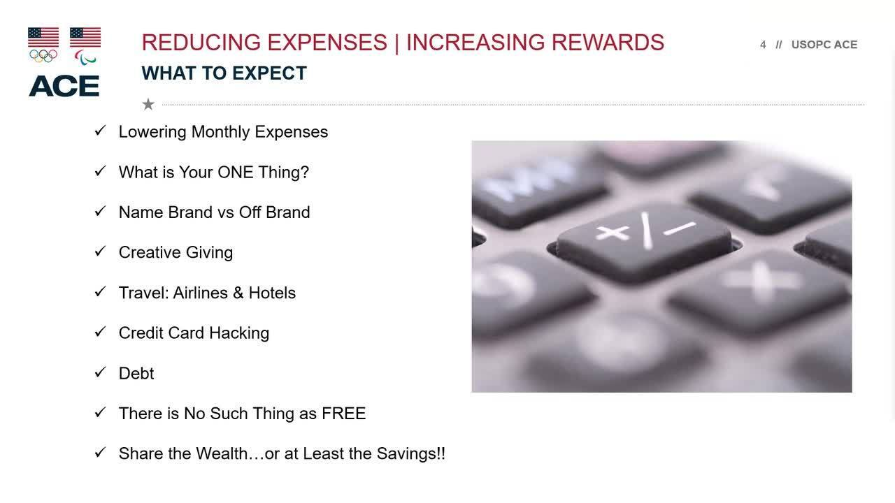 ACE Finance Series | Part 3 | Reducing Expenses and Increasing Rewards