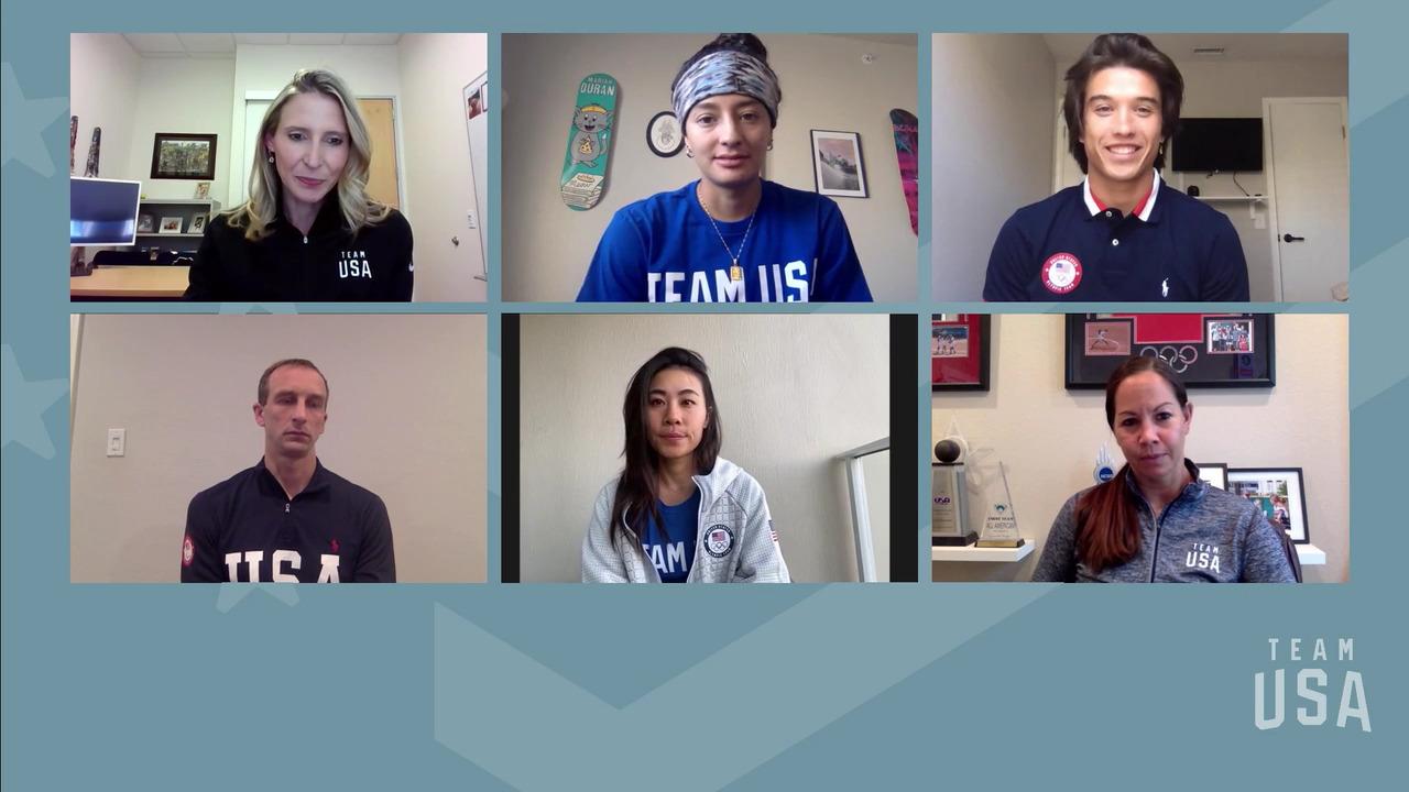Mariah Duran, Danielle Kang, Cat Osterman, Heimana Reynolds, Aaron Scheidies   Tokyo 2020 Team USA Virtual Media Summit