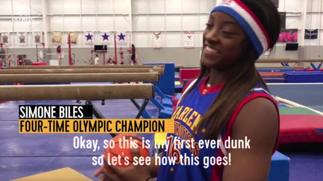 Olympic Channel: Simone Biles Trains With Harlem Globetrotters