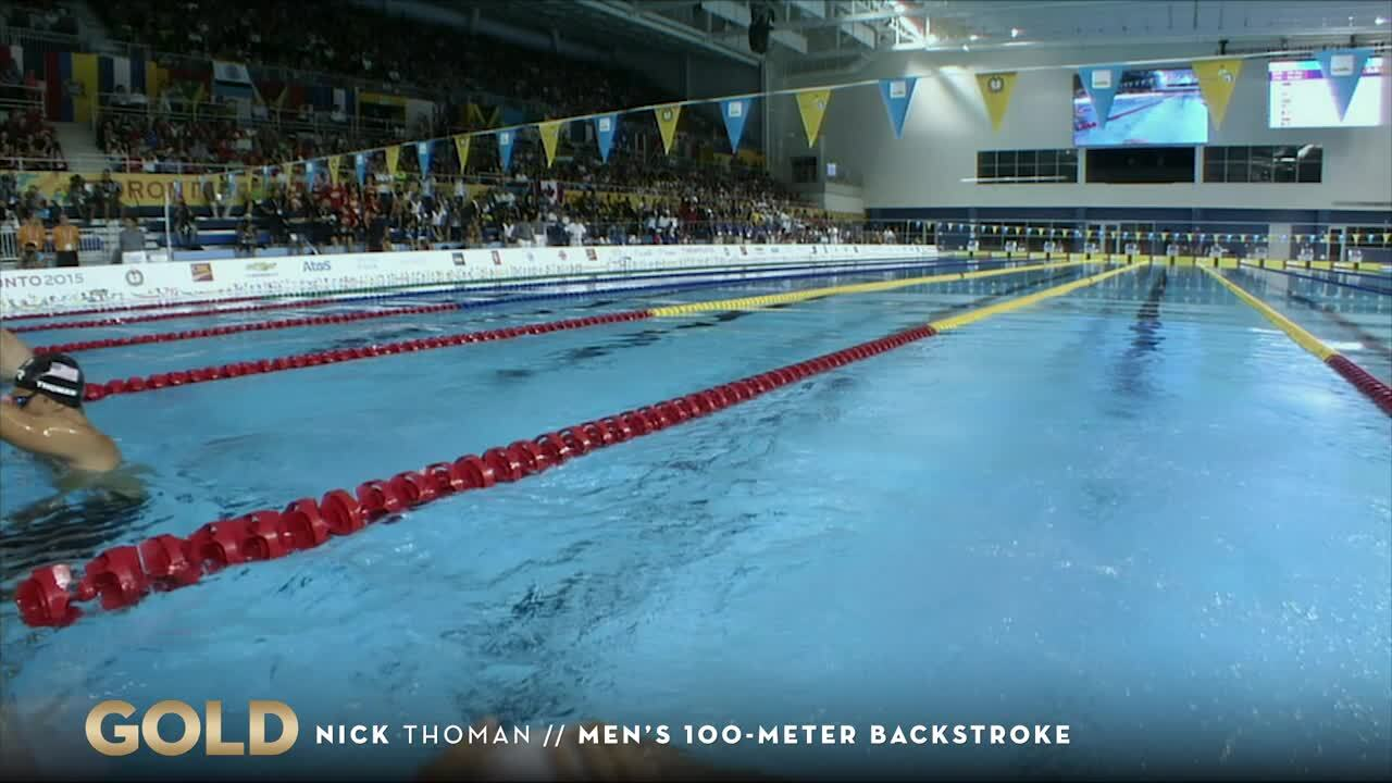 Nick Thoman's 100-meter Backstroke Earns Gold