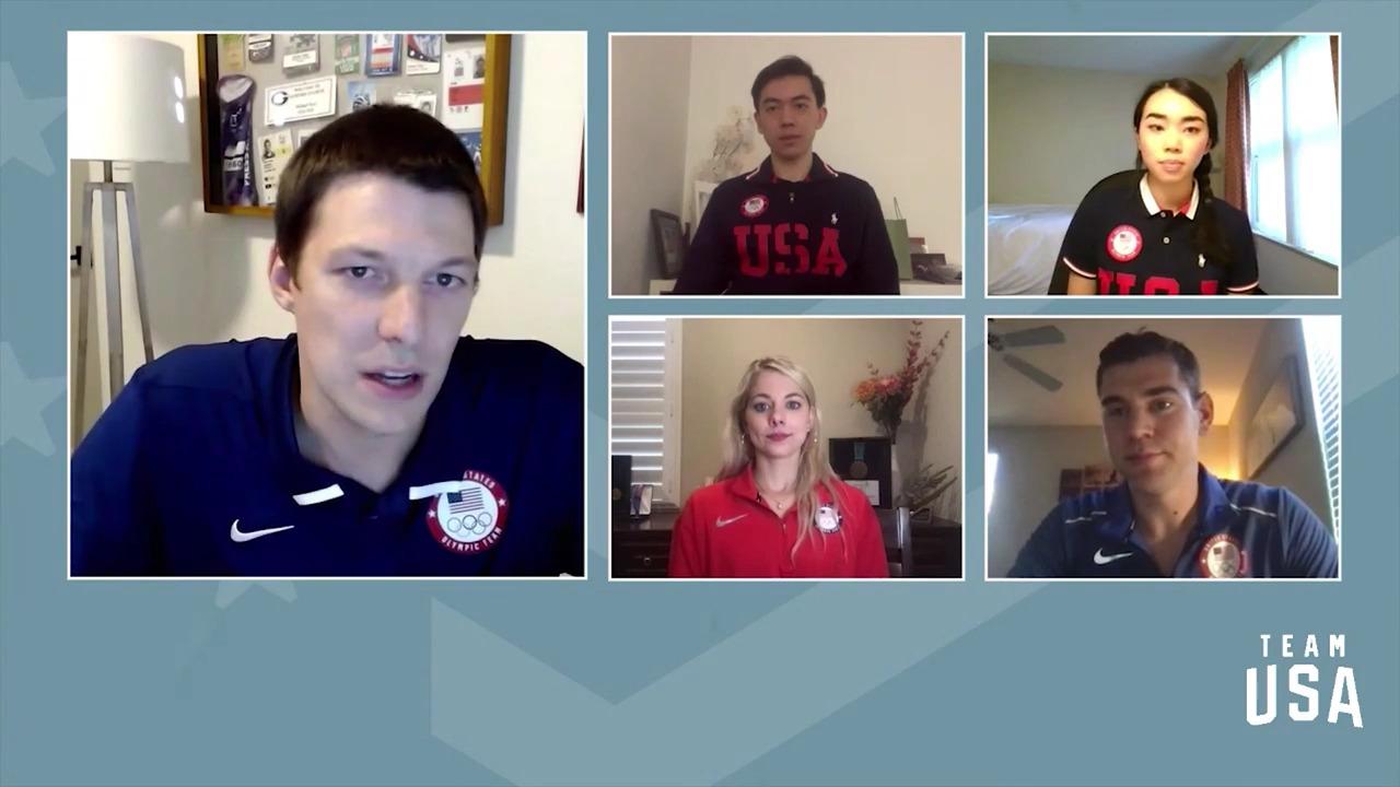 Karen Chen, Brandon Frazier, Alexa Knierim, Vincent Zhou | Beijing 2022 Team USA Media Summit