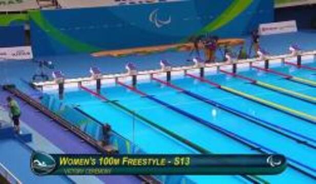 Rebecca Meyers | Women's 100m Freestyle S13 Final Silver Medal Ceremony | 2016 Paralympic Games