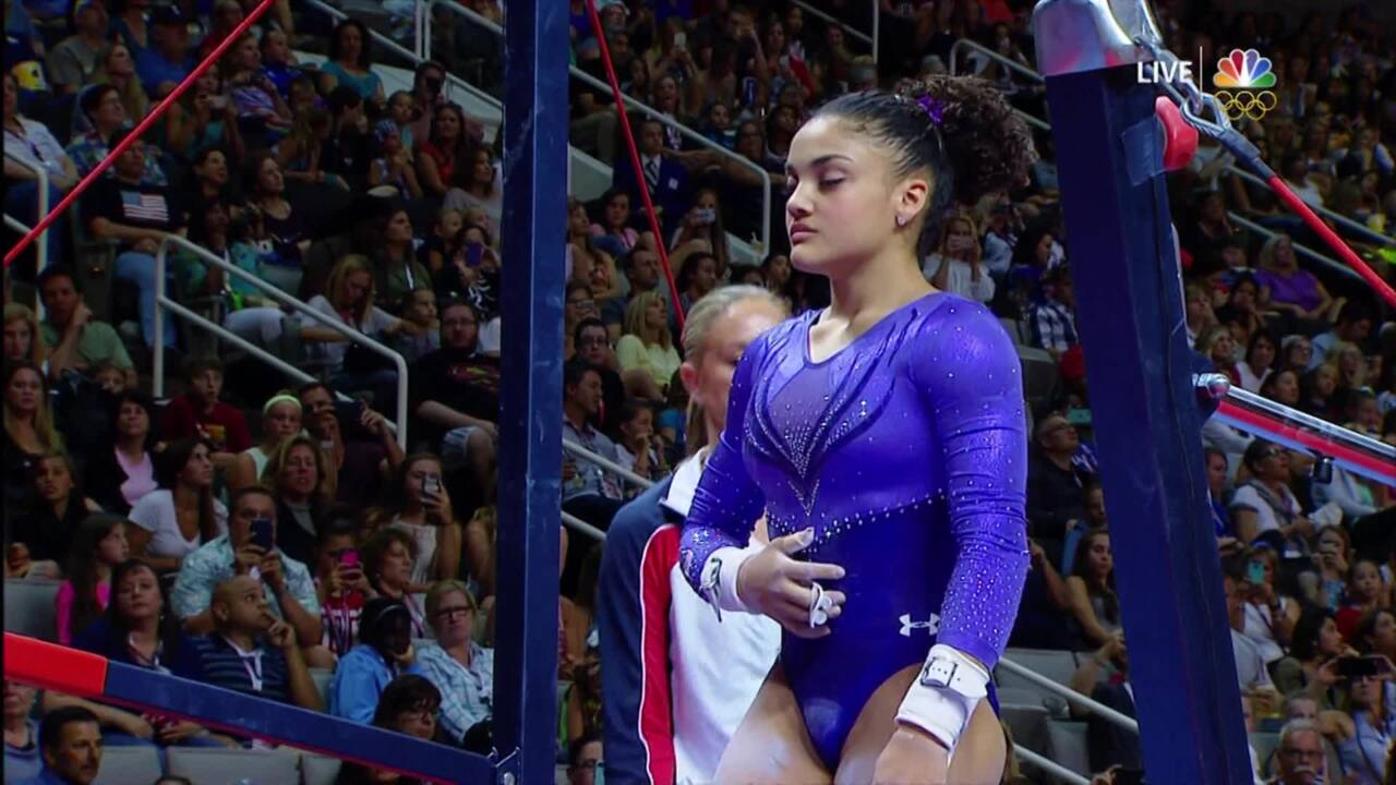Olympic Gymnastics Trials   Laurie Hernandez Performs On The Uneven Bars