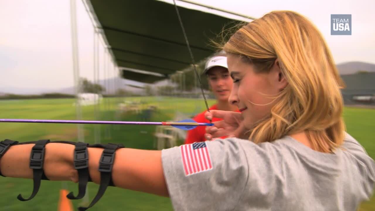 Tanith White Gives Archery A Try
