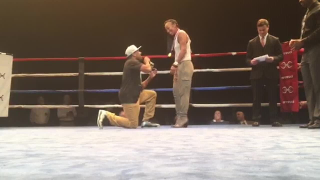 Boxer Steven Nelson Proposes To Raquel Miller At Olympic Trials