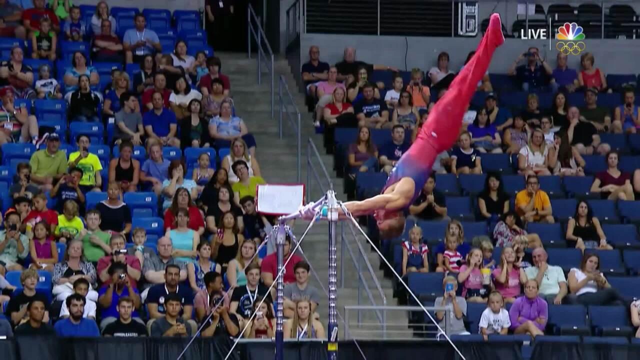 Men's Gymnastics Olympic Trials   Disaster On Horizontal Bar For Sam Mikulak