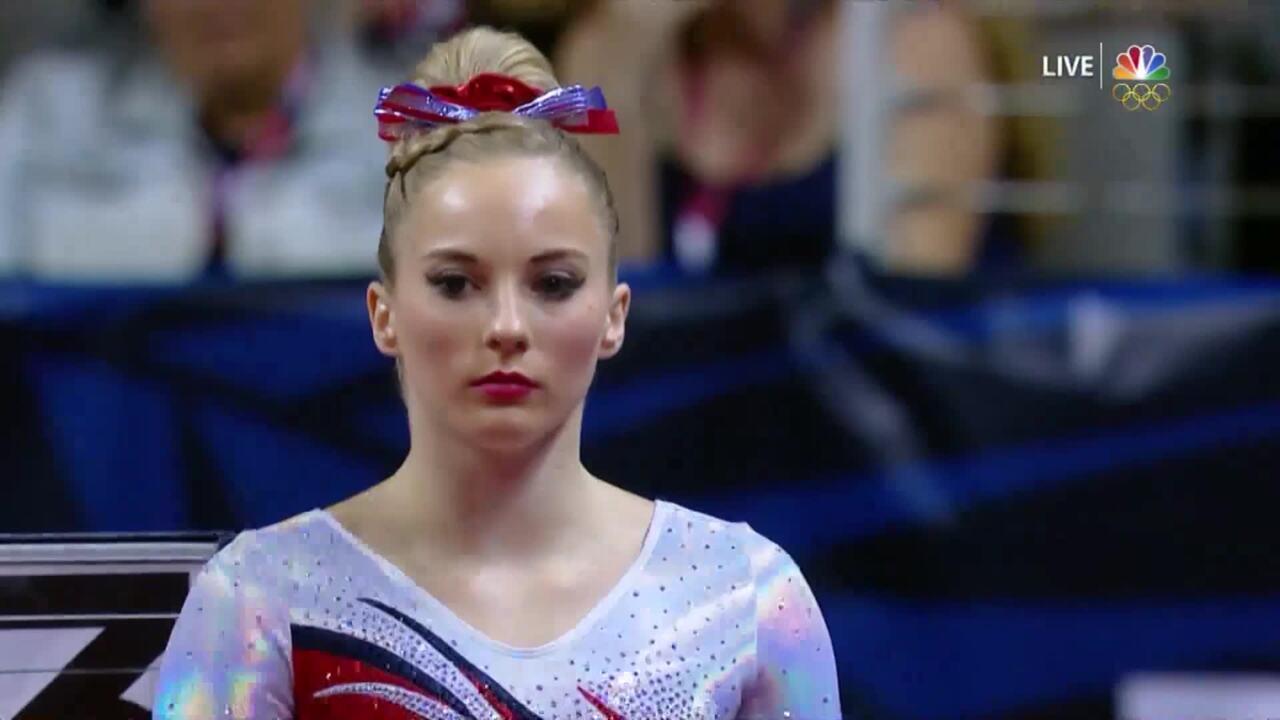 Olympic Gymnastics Trials   MyKayla Skinner Nearly Sticks Vault Landing