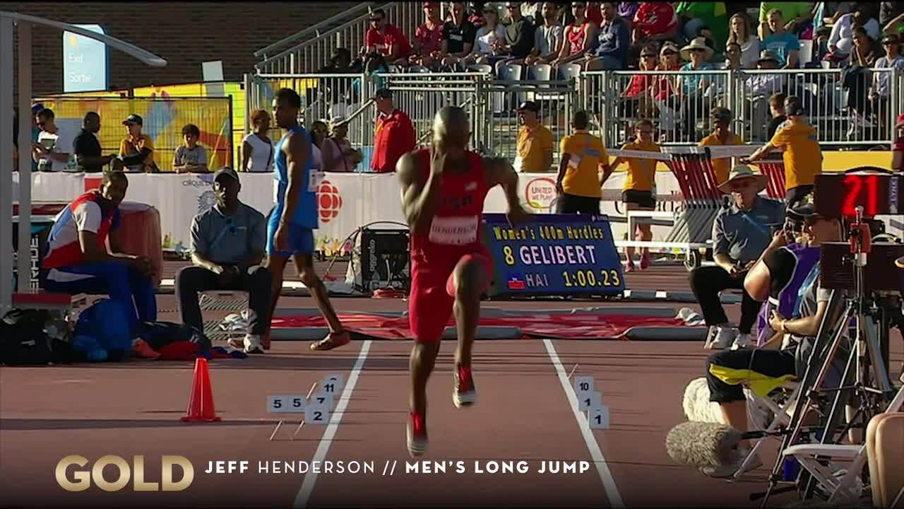 Jeff Henderson Takes Gold In The Long Jump