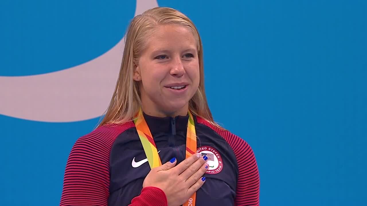 Michelle Konkoly   Women's 100M Freestyle S9 Gold Medal Ceremony   2016 Paralympic Games
