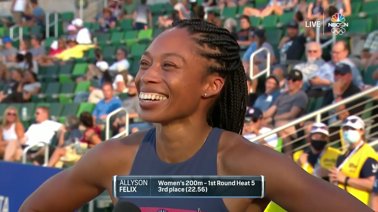 Alyson Felix Interview After 200M Qualifying Heats   Track & Field U.S. Olympic Team Trials 2021