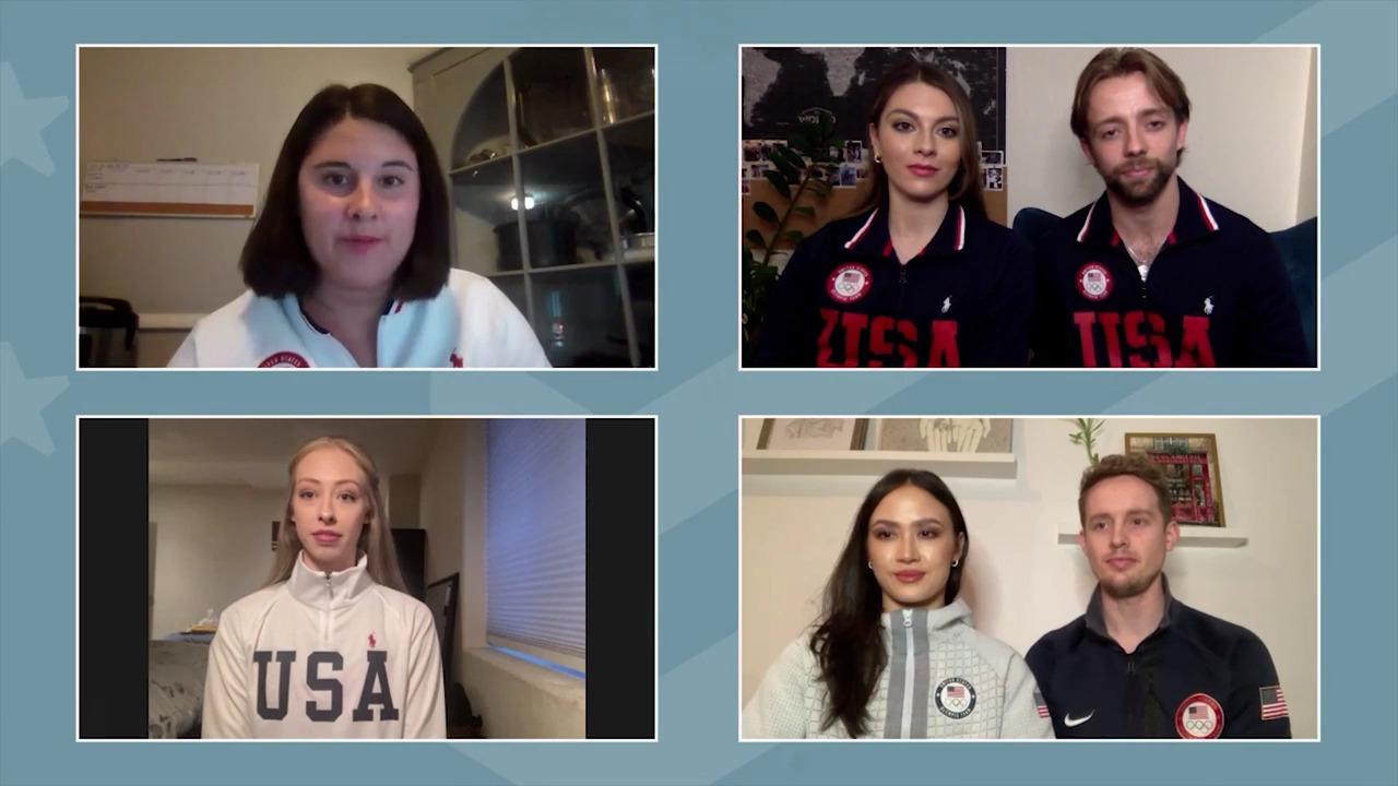 Jean-Luc Baker, Kaitlin Hawayek, Evan Bates, Madison Chock, Bradie Tennell | Beijing 2022 Team USA Media Summit