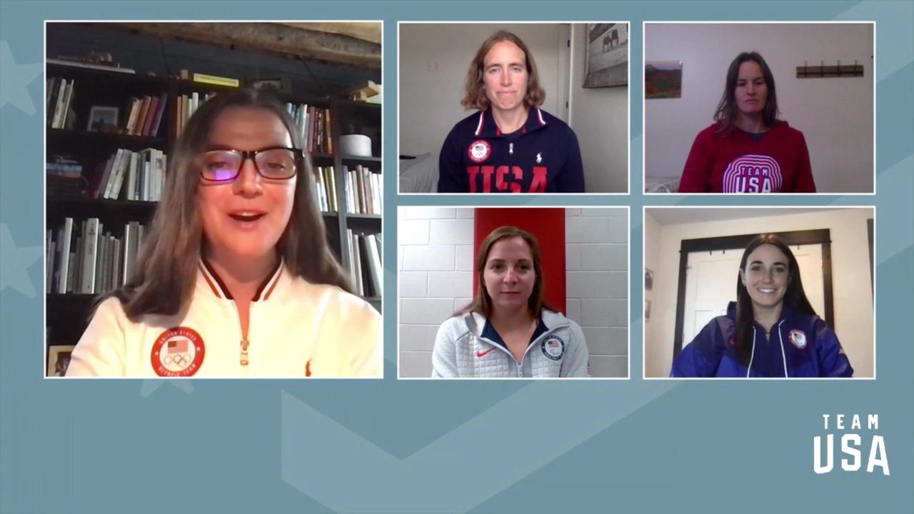 Dani Aravich, Susan Dunklee, Clare Egan and Kendall Gretsch | Beijing 2022 Team USA Media Summit