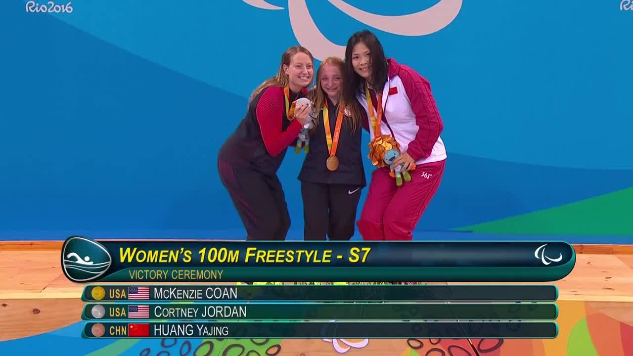 McKenzie Coan, Cortney Jordan | Women's 100m Freestyle S7 Final Gold and Silver Medal Ceremony | 201