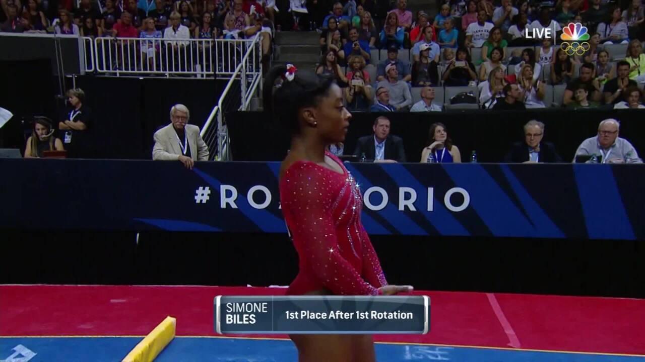 "Olympic Gymnastics Trials   Simone Biles Hits ""Close To Perfect"" Vault"