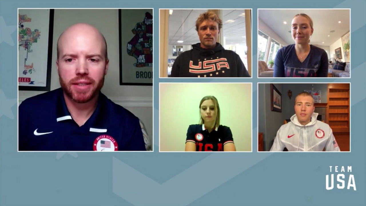 Casey Adams, Gus Schumacher, Colby Stevenson, Maggie Voisin   Beijing 2022 Team USA Media Summit