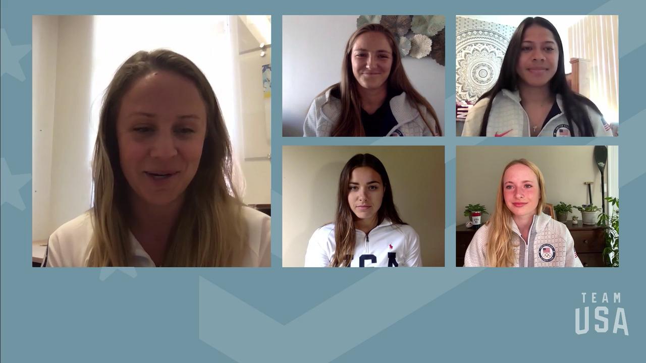 Nevin Harrison, Evy Leibfarth, Haylie McCleney, Dejah Mulipola    Tokyo 2020 Team USA Virtual Media Summit
