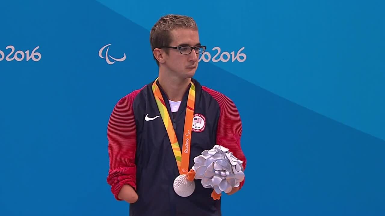 Roy Perkins | Men's 100m Freestyle S5 Final Silver Medal Ceremony | 2016 Paralympic games