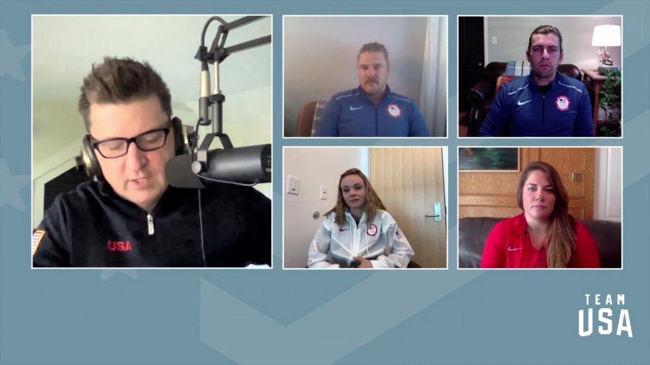 Mariah Bell, Becca Hamilton, Matt Hamilton, Chris Plys   Beijing 2022 Team USA Media Summit