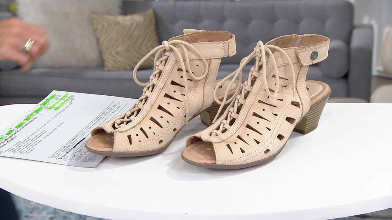Earth Nubuck Leather Lace-Up Sandals