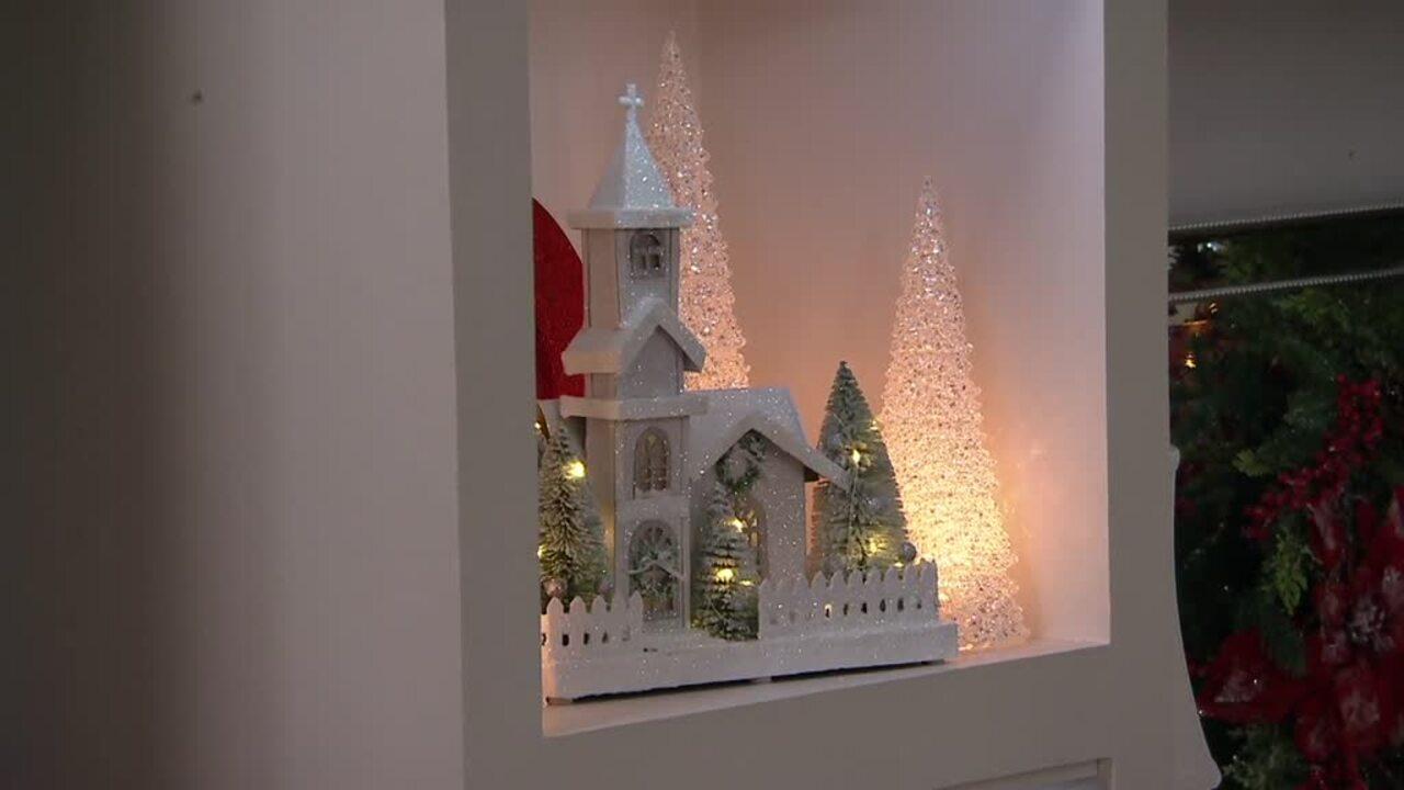 Set of 3 Illuminated Acrylic Glitter Trees by Valerie