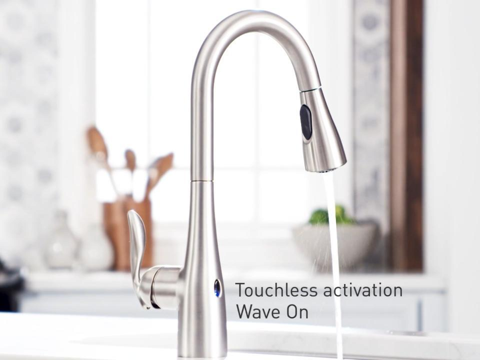 Moen Arbor Touchless Single Handle Pull Down Sprayer Kitchen Faucet With Motionsense Wave In Spot Resist Stainless 7594ewsrs The Home Depot