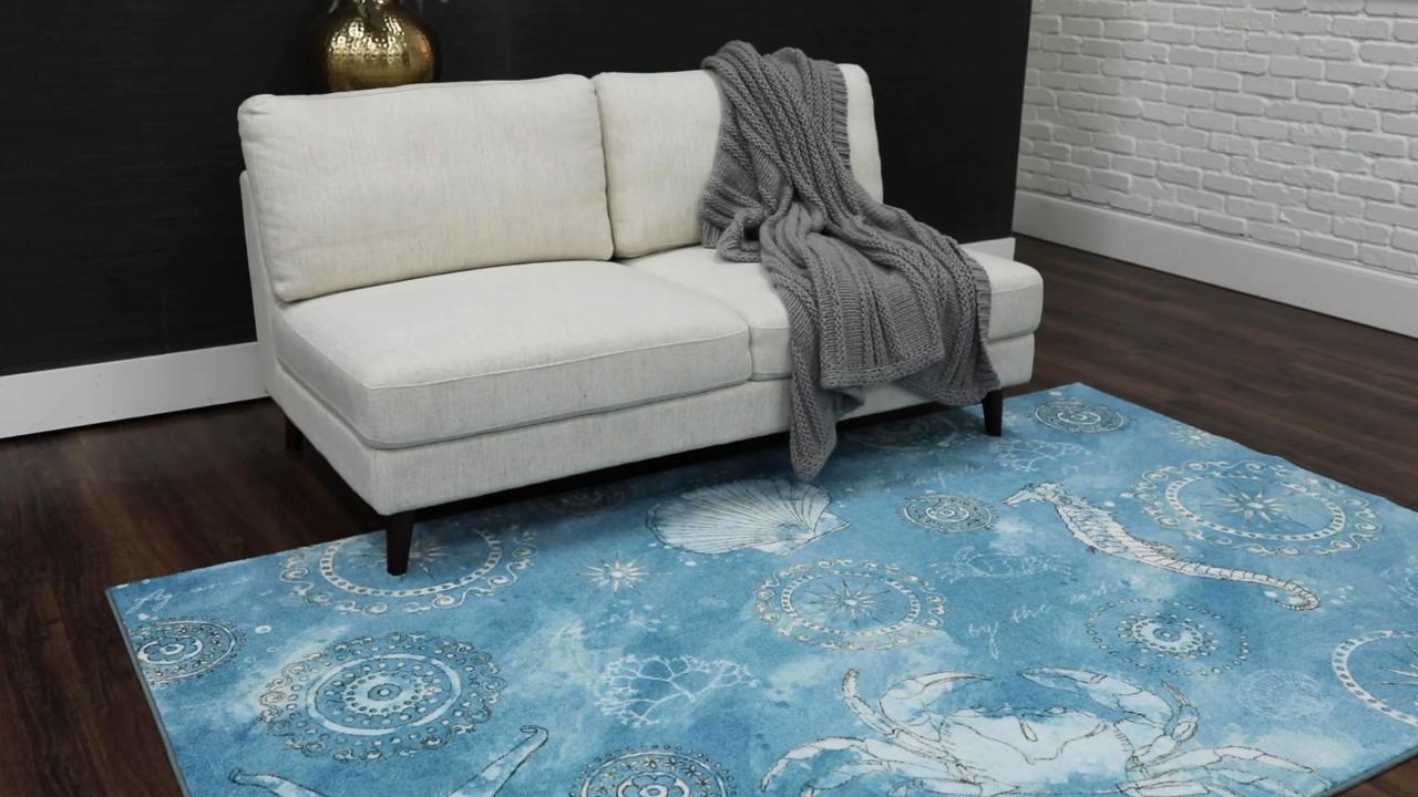 Mohawk Home Coastal Splash Aqua 5 Ft X 8 Ft Indoor Area Rug 048035 The Home Depot