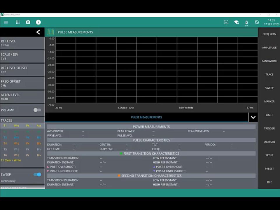 Pulse Analyzer Option 421 Simulator
