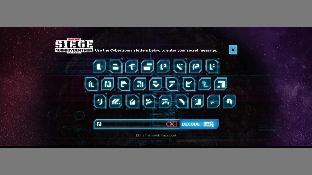 Transformers Generations: War for Cybertron Hidden Messages - How to Decode a Hidden Message