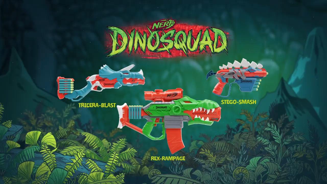 Lançadore Nerf DinoSquad! Rex-Rampage, Tricera-Blaster e StegoSmash
