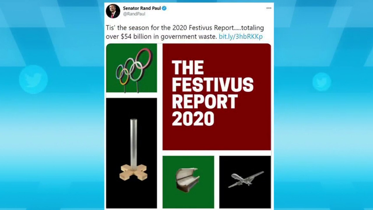 Sen. Rand Paul's annual 'Festivus Report' cites $54B in wasted taxpayer money in 2020
