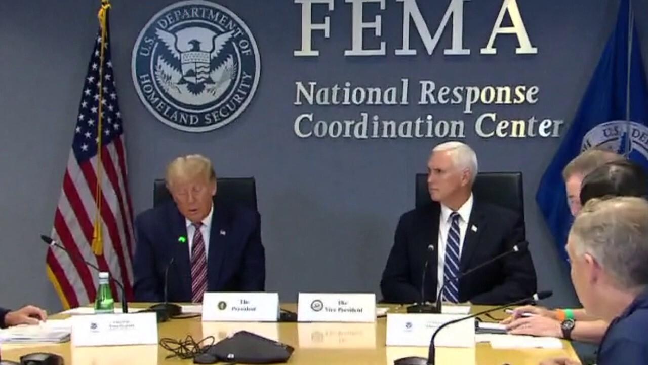 President Trump attends FEMA briefing on Hurricane Laura ahead of RNC speech