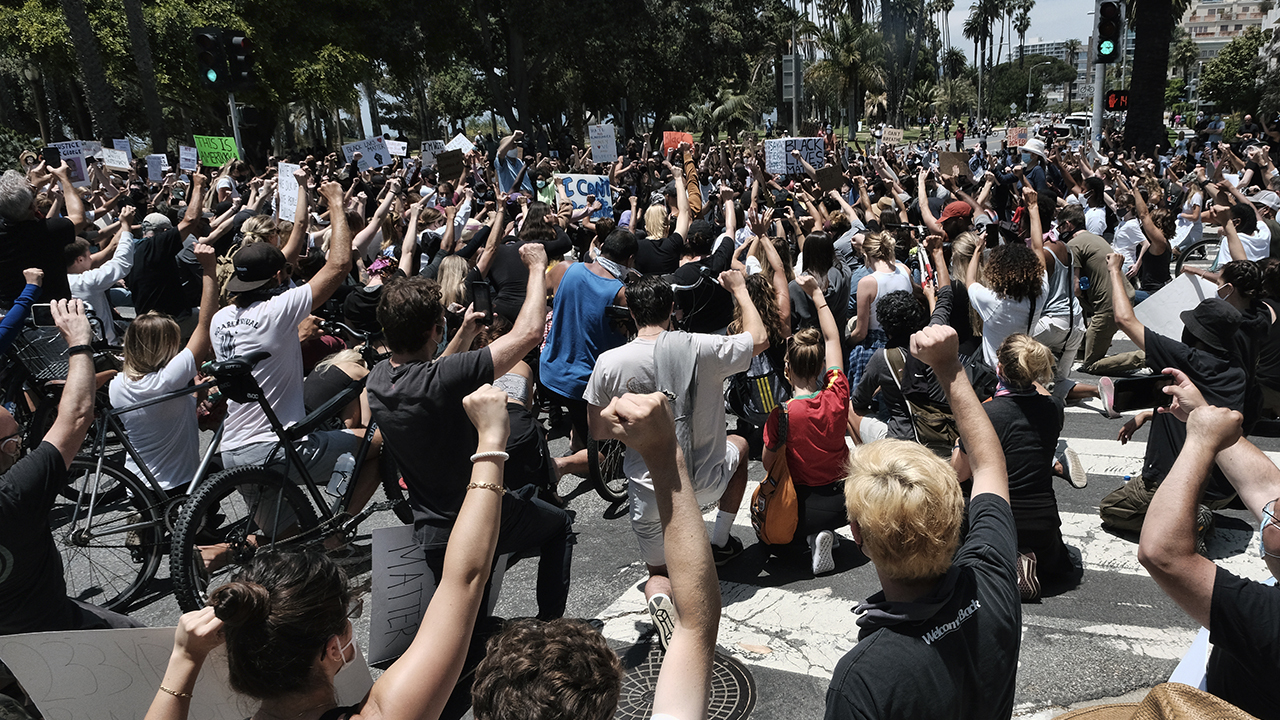 Peaceful protests give way to violence in California cities