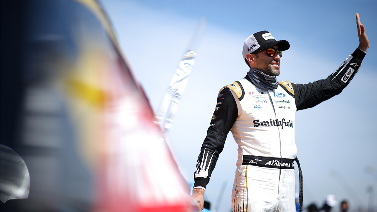 """Cuban American NASCAR star Aric Almirola reminds fans that """"our freedom is not free"""""""