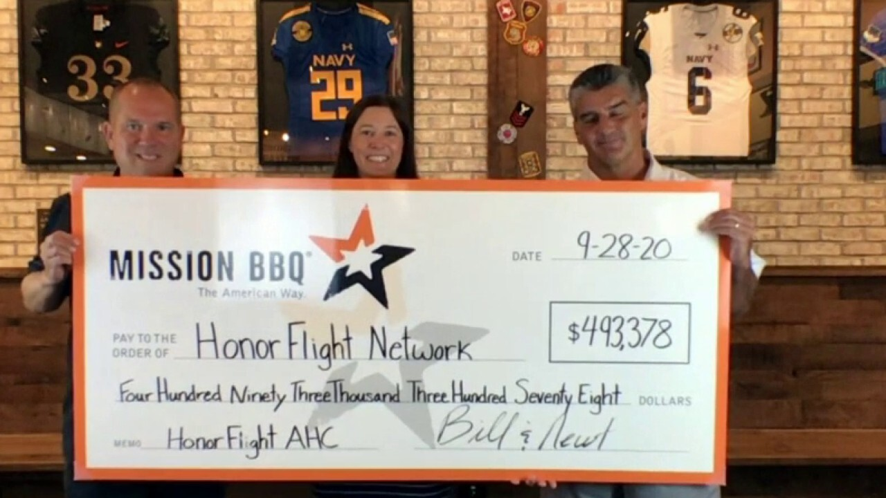 Mission BBQ surprises Honor Flight Network with a check for $493,378