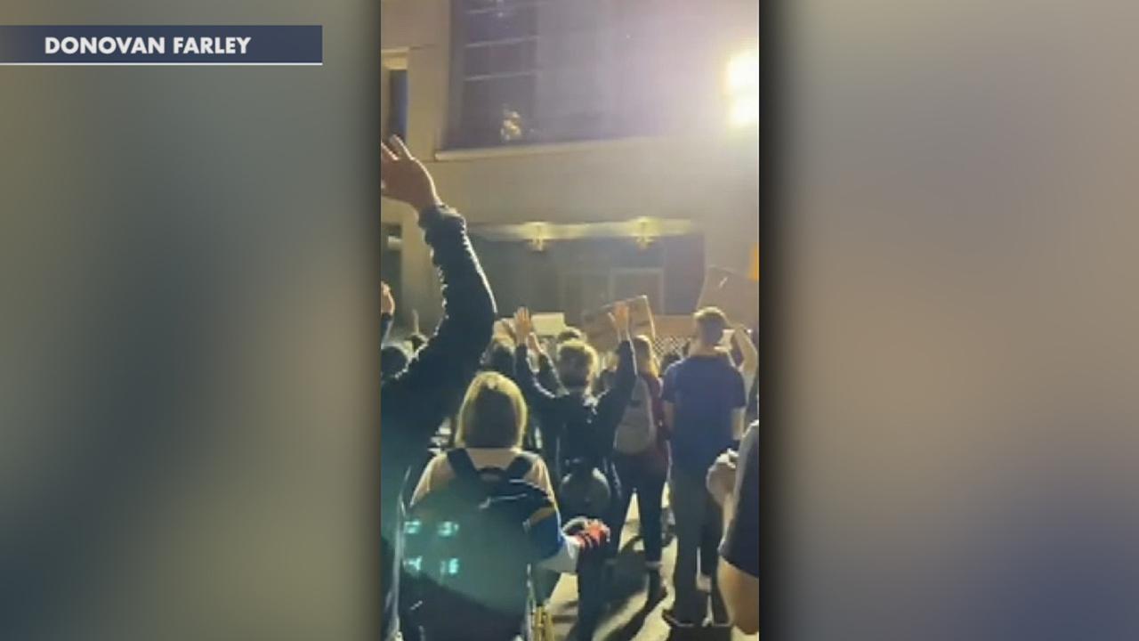 Oregon protesters gather outside Portland mayor's apartment