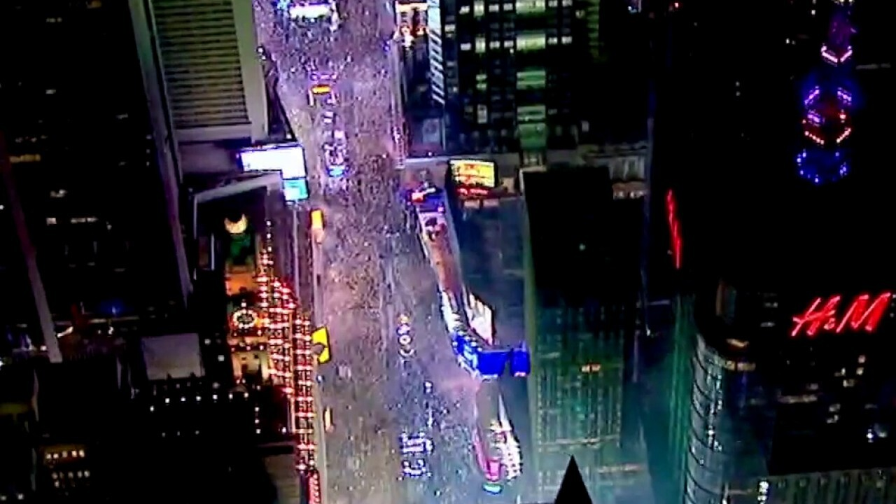 Times Square celebrates New Year's Eve without the big crowds
