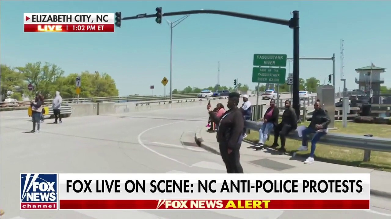 Protesters shutdown bridge in Elizabeth City, NC
