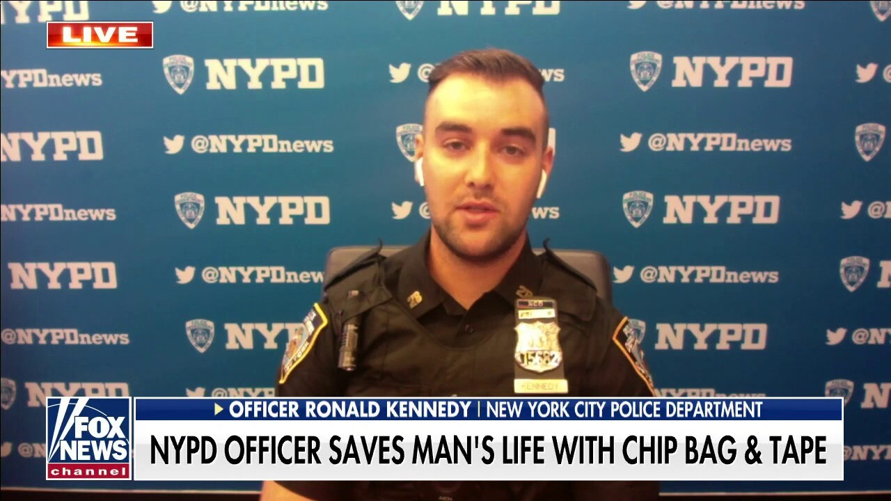 NYPD officer saves stabbed man's life with potato chip bag and tape