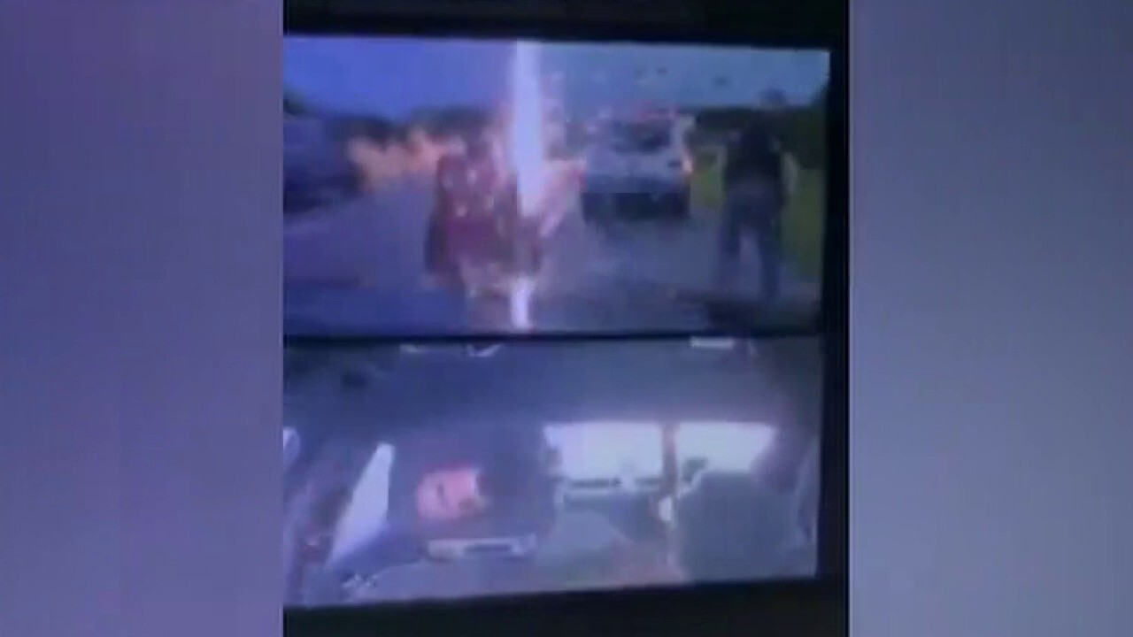 Officer nearly struck by lightning during traffic stop