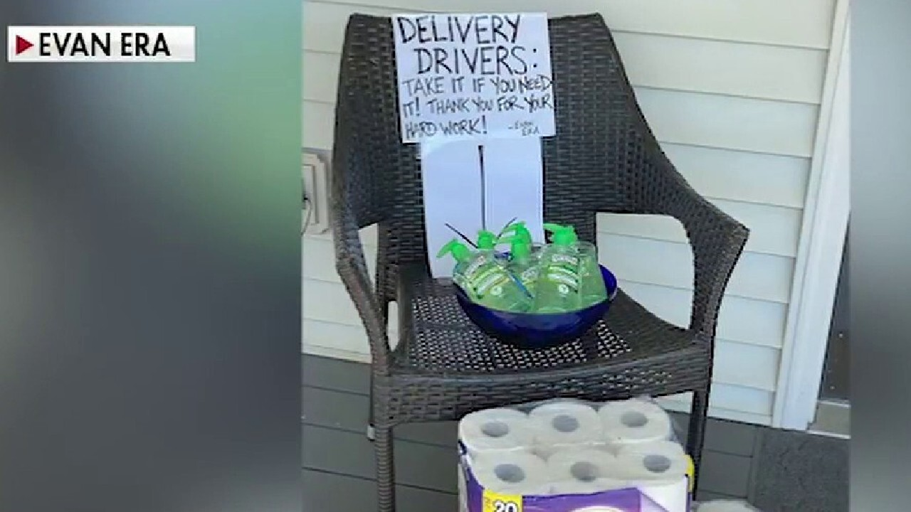 Man tips delivery drivers with toilet paper and hand sanitizer during coronavirus pandemic