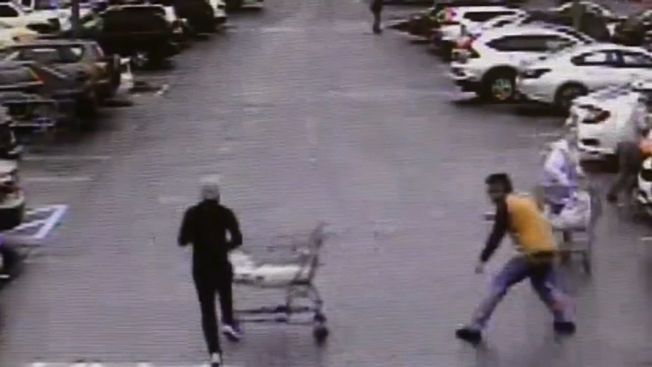 Georgia man takes down shoplifting suspect with grocery cart during police chase caught on video