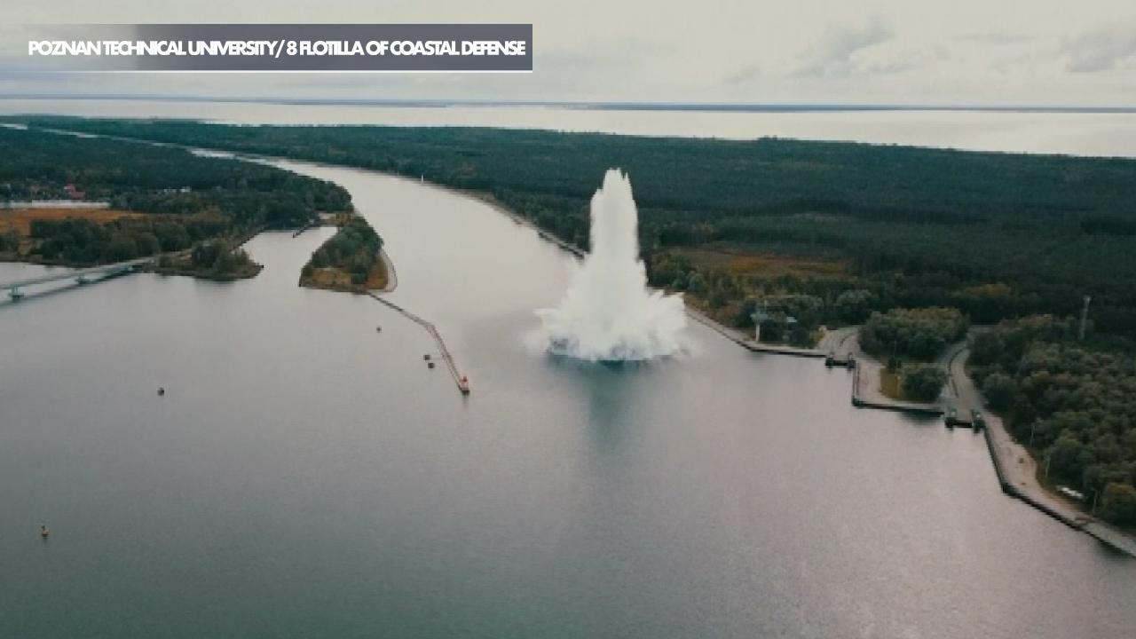 World War II bomb explodes underwater in Poland