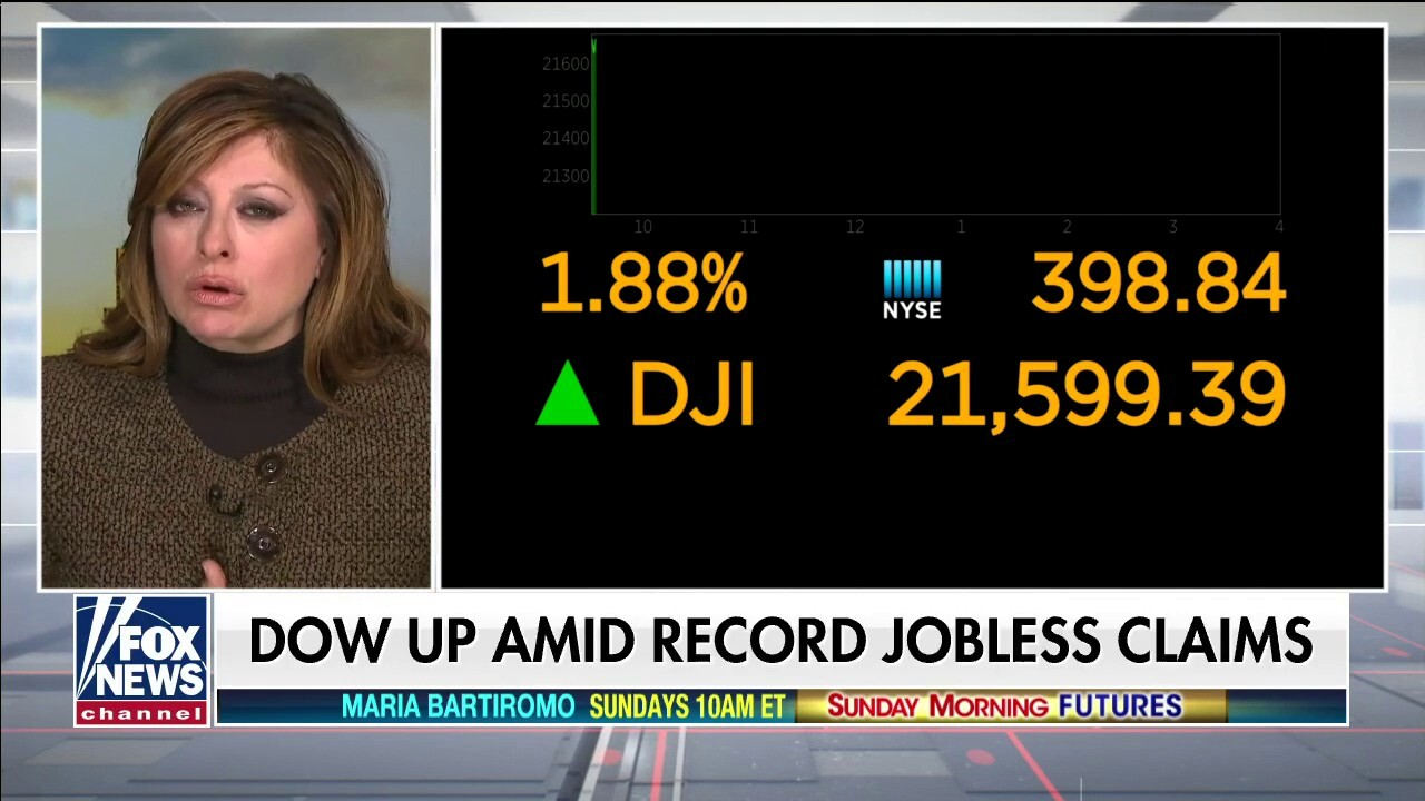 Maria Bartiromo: Weekly jobless claims hit wasn't as bad as expected