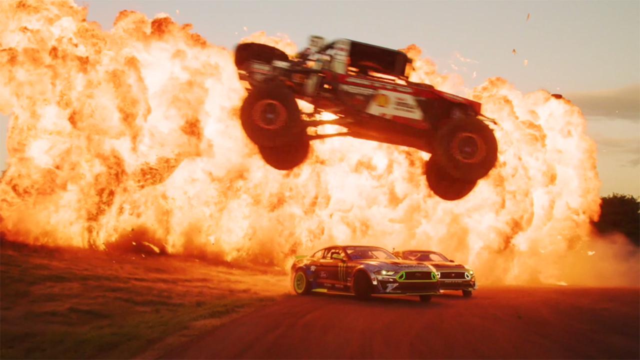 Driving team pulls off explosive stunt