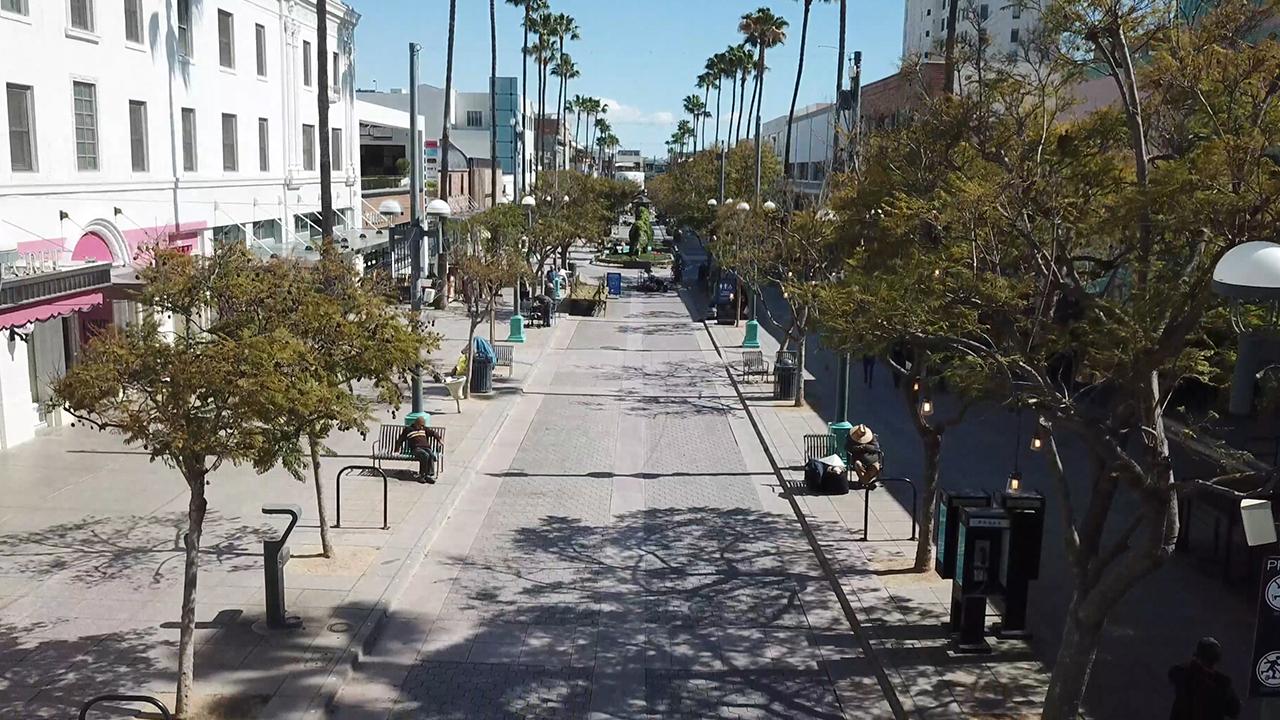 Normally bustling Third Street Promenade in Santa Monica is mostly silent amid coronavirus outbreak